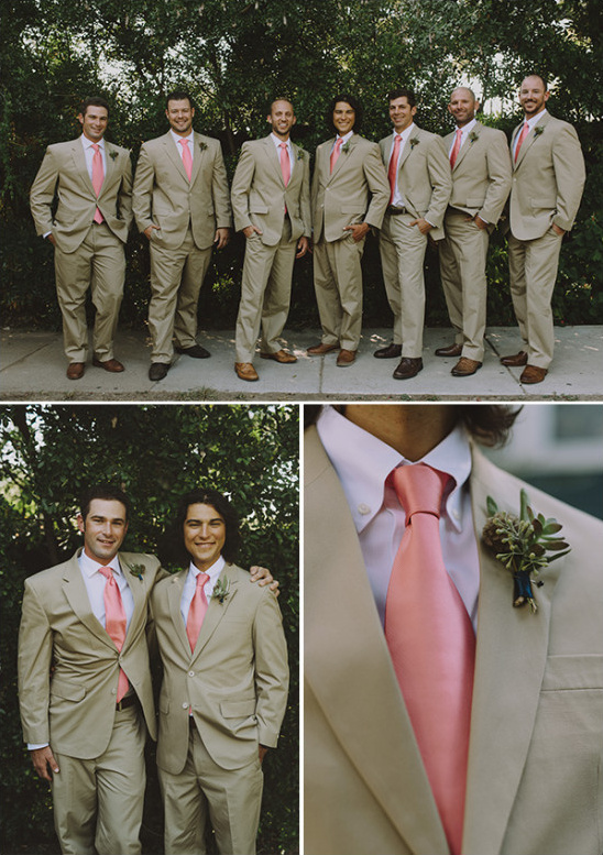 Tan and blush groomsmen look