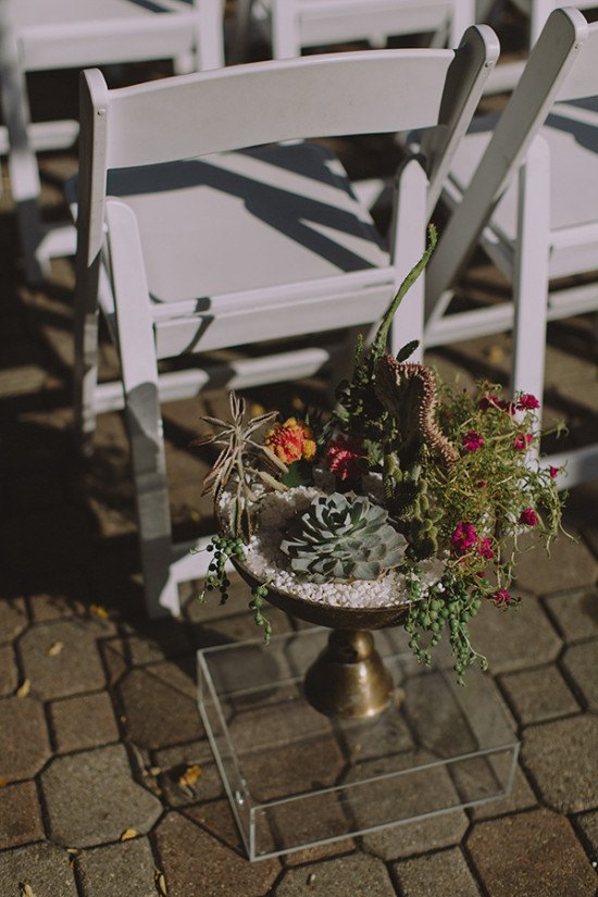Ceremony decor with potted plants