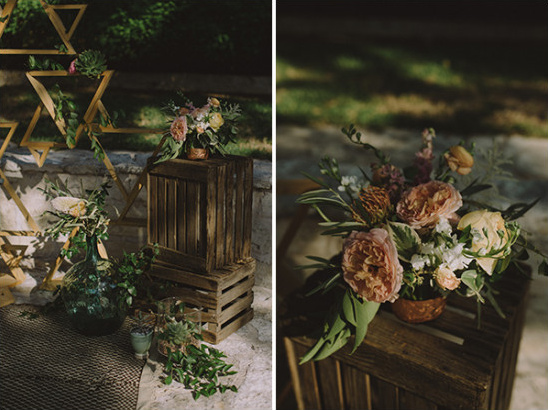 Wood crates and floral ceremony decor