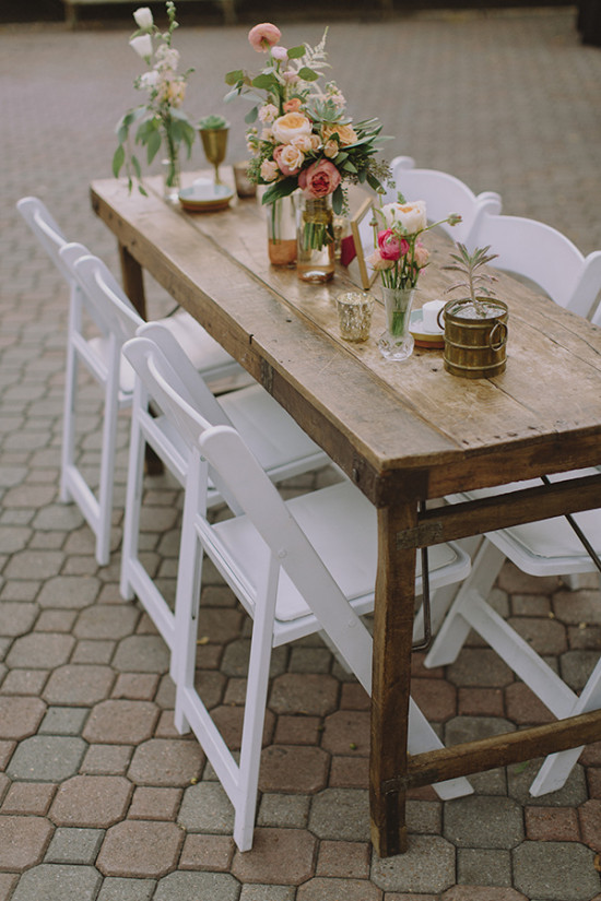 Rustic table setting with mismatched centerpieces