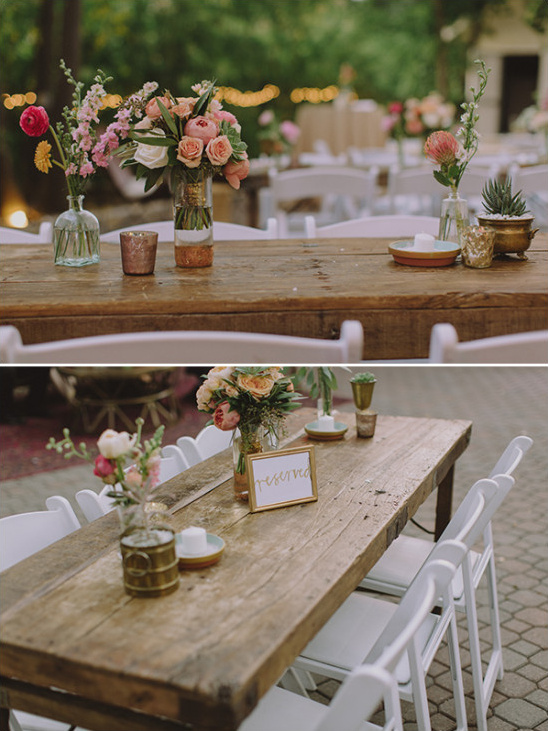 Rustic chic outdoor reception tables