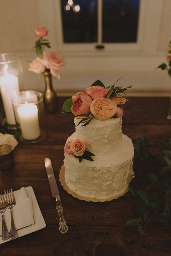 Wedding cake with floral topper