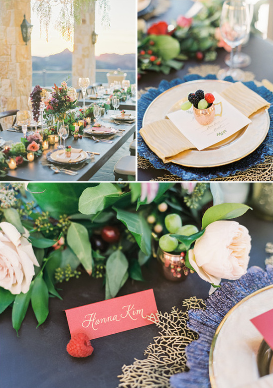 elegant gold red and green table setting