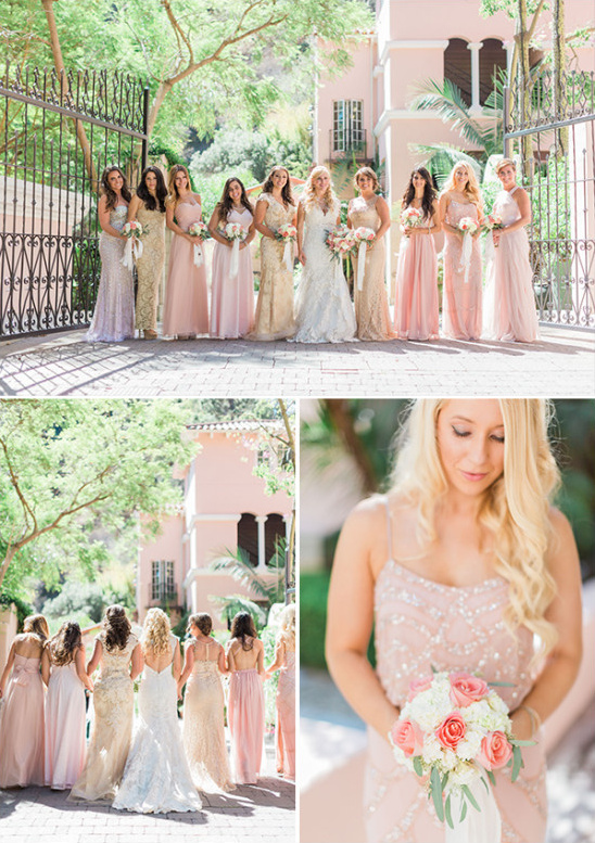 soft pink and gold bridesmaid dresses