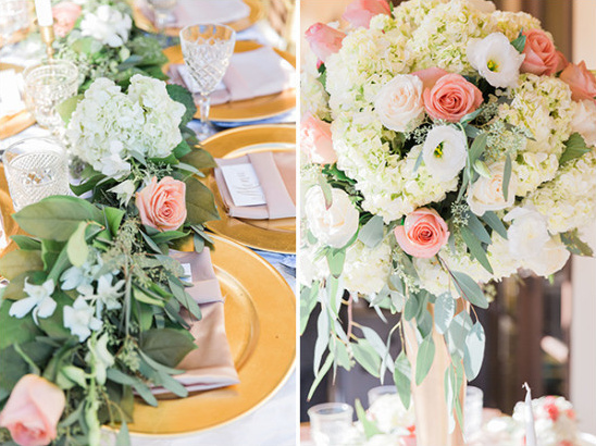 pink gold and white centerpiece idea