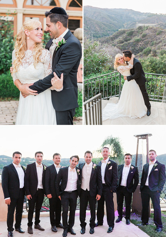 classic tux groomsmen with peach bow ties