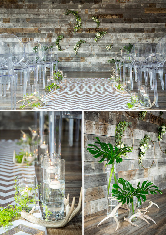 Rustic modern ceremony decor