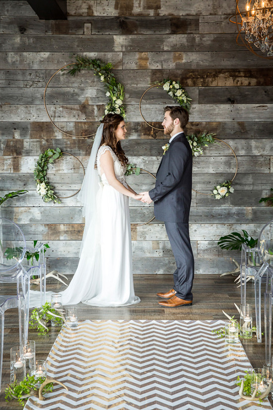 Rustic ceremony decor and details