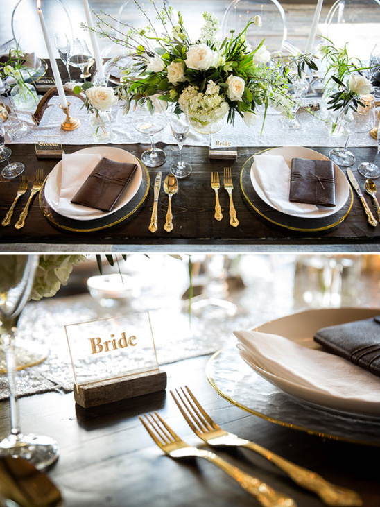 Rustic reception table details