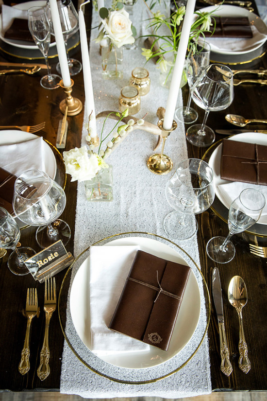 Reception with rustic leather and antler details