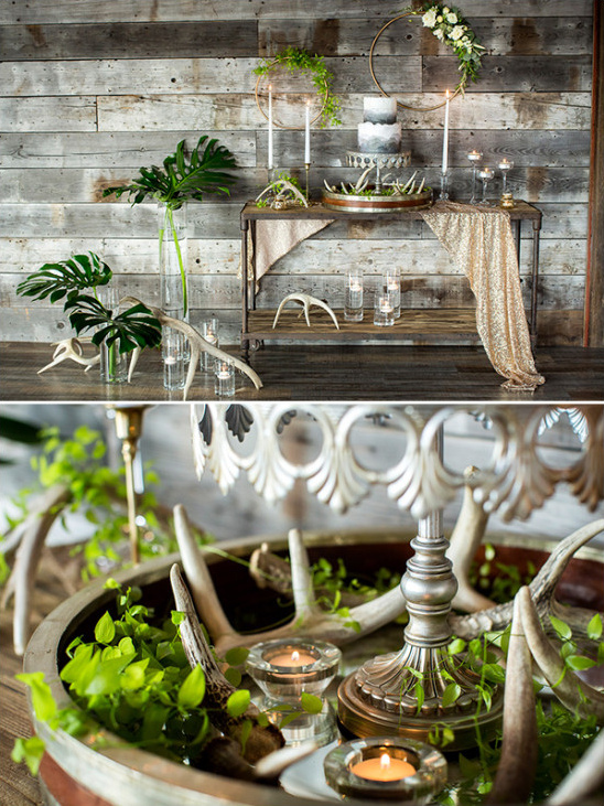 Rustic chic cake table idea