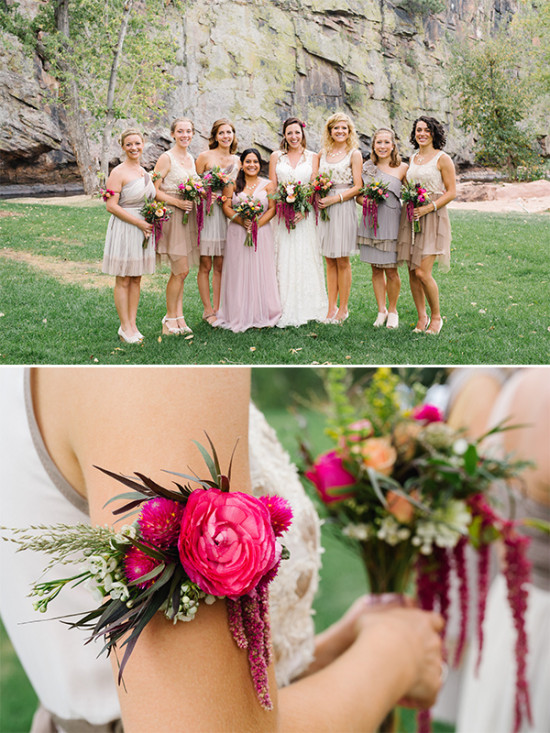 bridesmaids with floral armbands