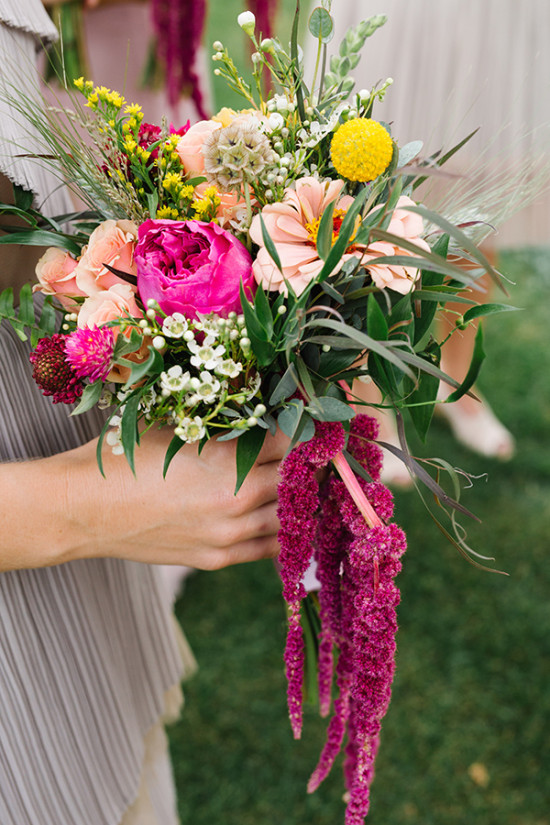 pink peach and yellow bouquet