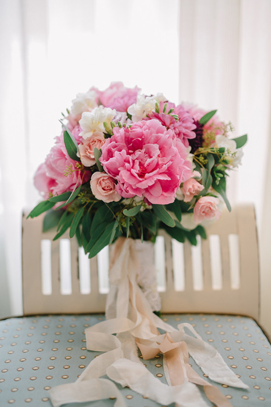 pink peony and rose wedding bouquet