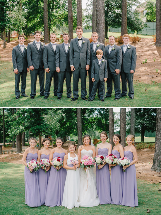 purple and dark grey wedding party