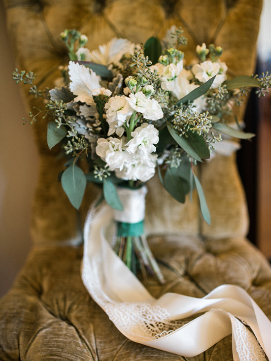 white bouquet with seeded eucalyptus