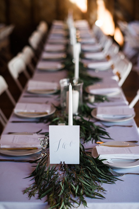 family style seating and calligraphy table numbers