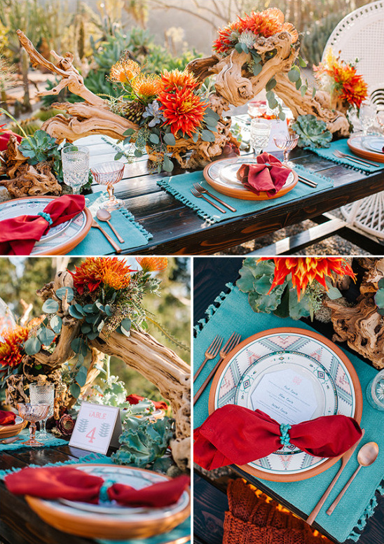 Bright and bold desert reception decor