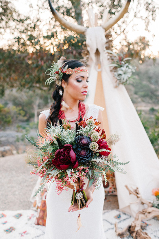 Desert plants inspired wedding bouquet