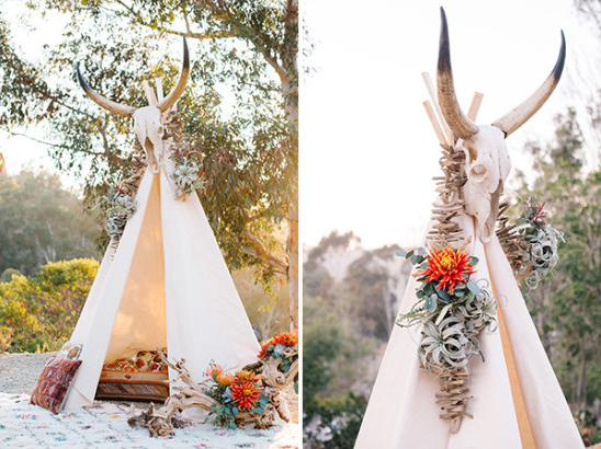 Desert wedding tent and decor