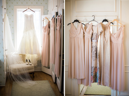 Bride and blush bridesmaid dresses