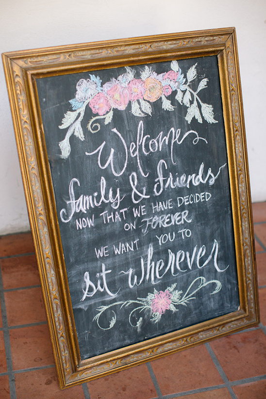 Welcome wedding chalkboard sign in gold frame