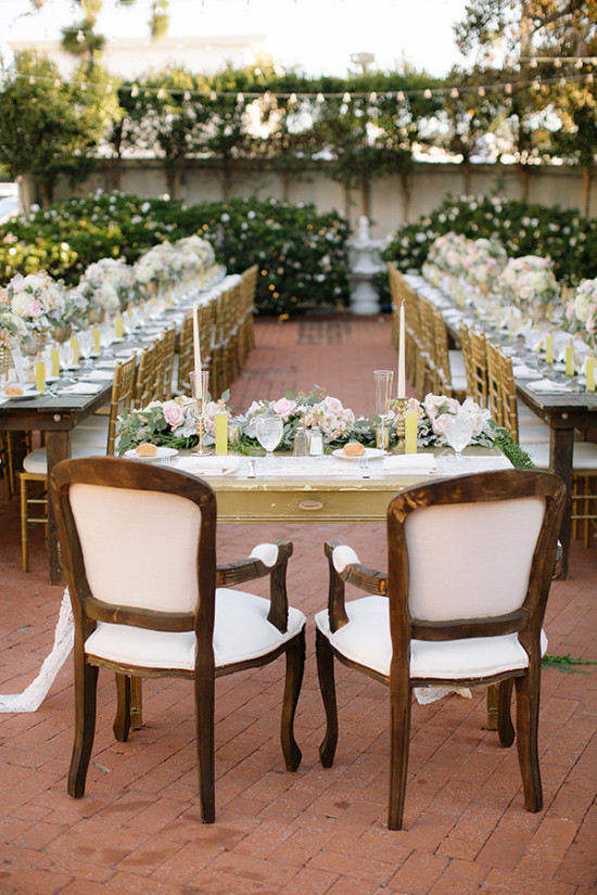 Pink and gold outdoor wedding reception