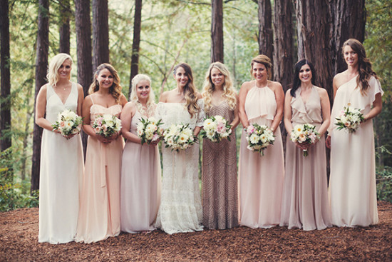 mismatched bridesmaids in peach