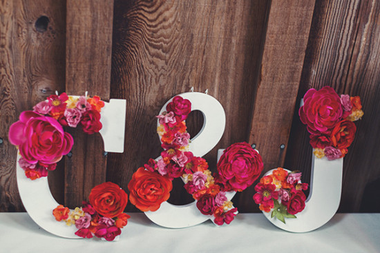 flower accented initials