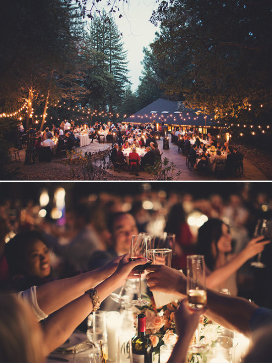 dramatic outdoor reception lighting