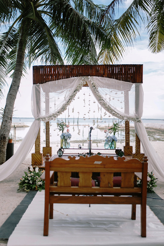 wedding ceremony backdrop on the beach