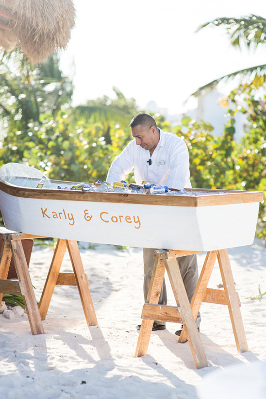 Beer boat for beachside wedding in Mexico