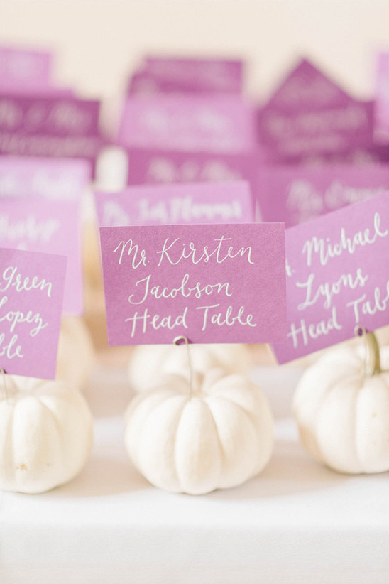 Seating cards idea with pumpkins