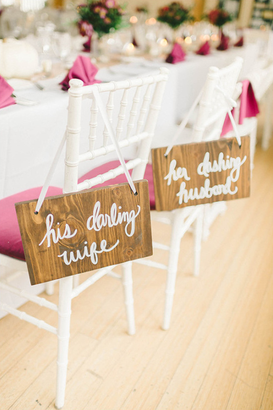 Head table signs for bride and groom