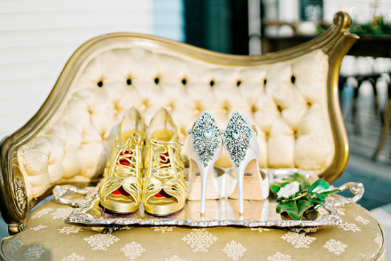 gold and ivory wedding shoes