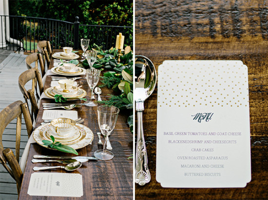 natural wood with gold accents reception