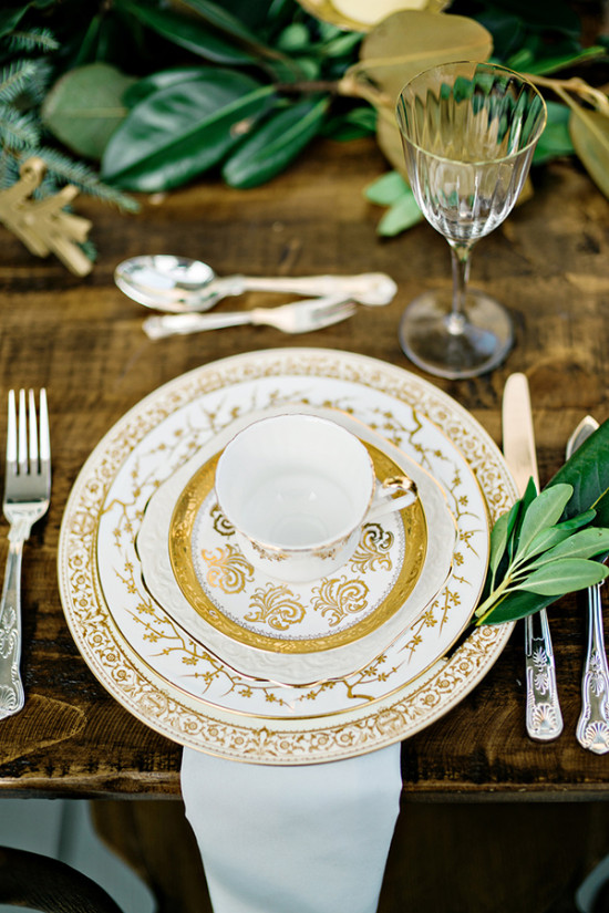 gold china tea cup place setting