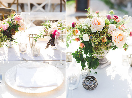 Beach reception table decor