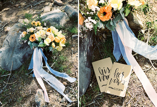 wedding bouquet and vow books