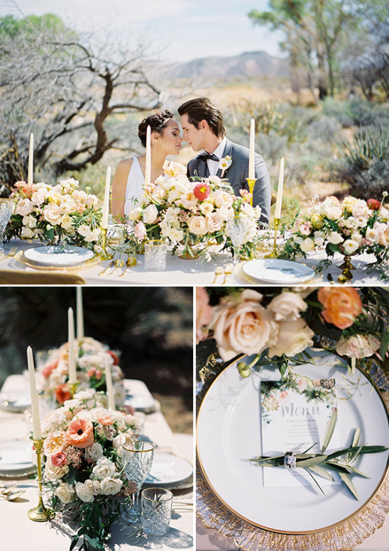 elegant gold and pink wedding table decor