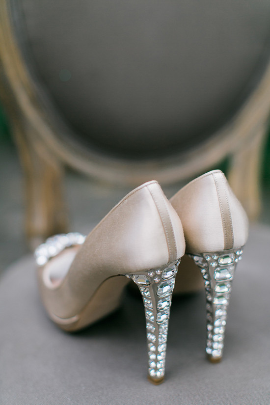 chic champagne heels with bejeweled heels