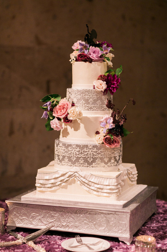 romantic ruffled and lacy wedding cake