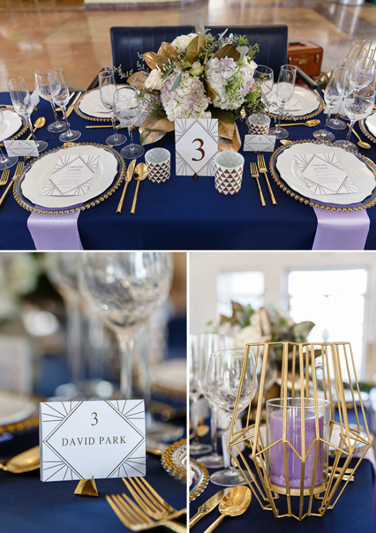 Navy and gold table decor