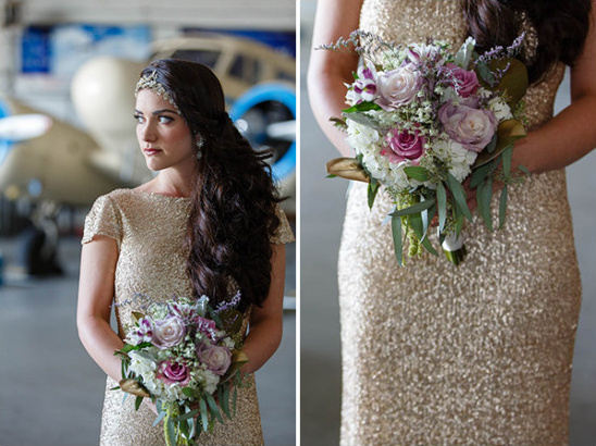 Gold bridesmaid dress and bouquet