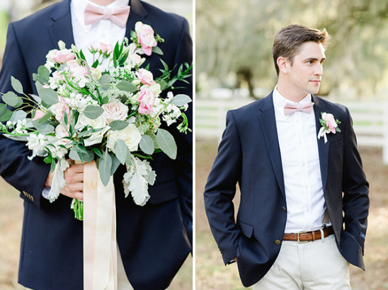 bouquet and navy blue groom look