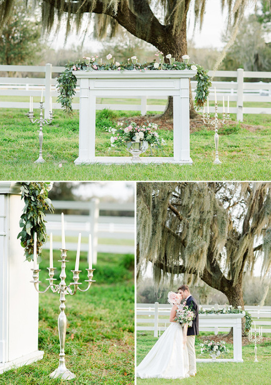 romantic wedding ceremony backdrop