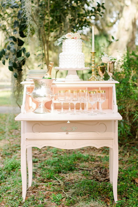 peach and gold dessert table