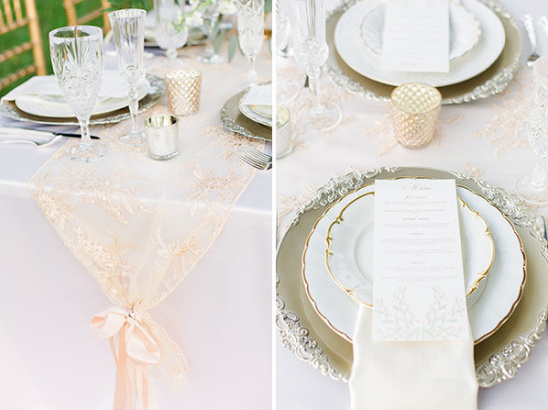 soft peach lace and silver table decor