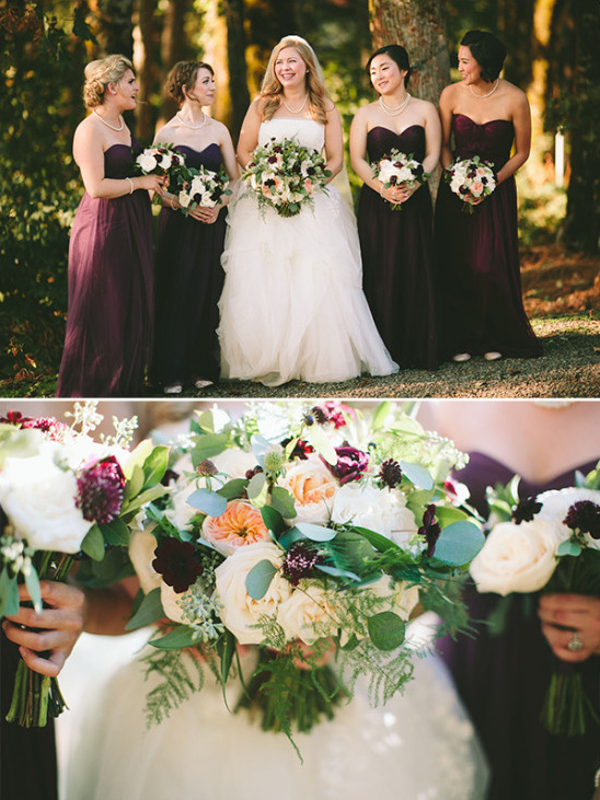 deep purple strapless bridesmaid dresses