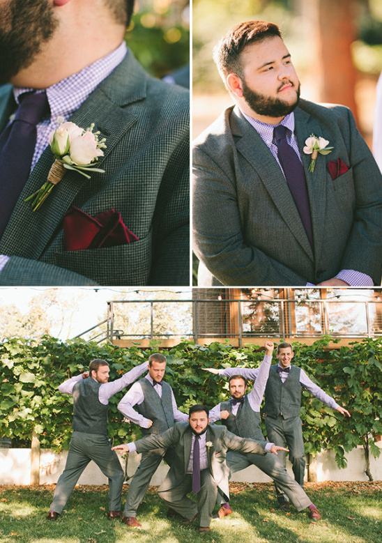 purple and gray groom and his men